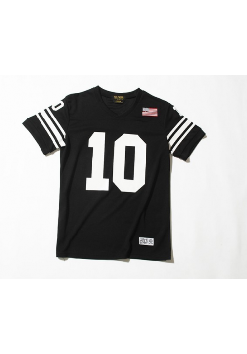 10 Deep V-Neck Baseball T-Shirt (Black)