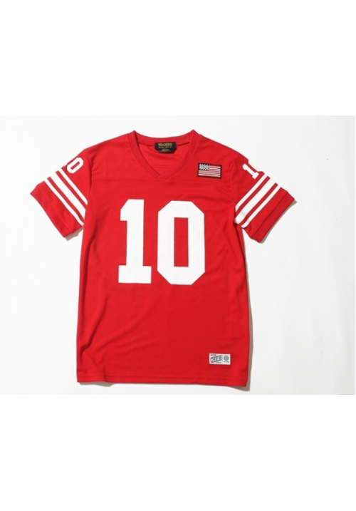 10 Deep V-neck Baseball T-Shirt (Red)