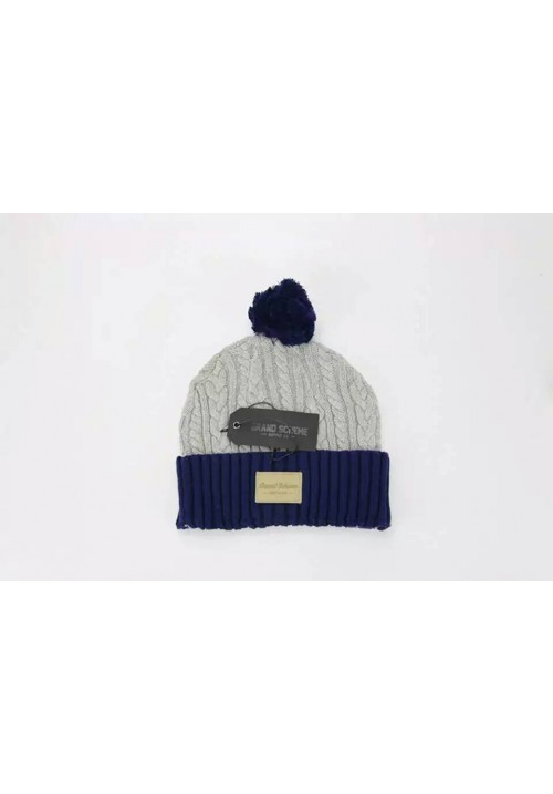 Grand Scheme Cable Knit Pom Beanie Hat (Gray/Navy)