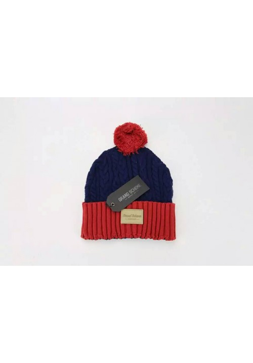 Grand Scheme Cable Knit Pom Beanie Hat (Navy/Red)