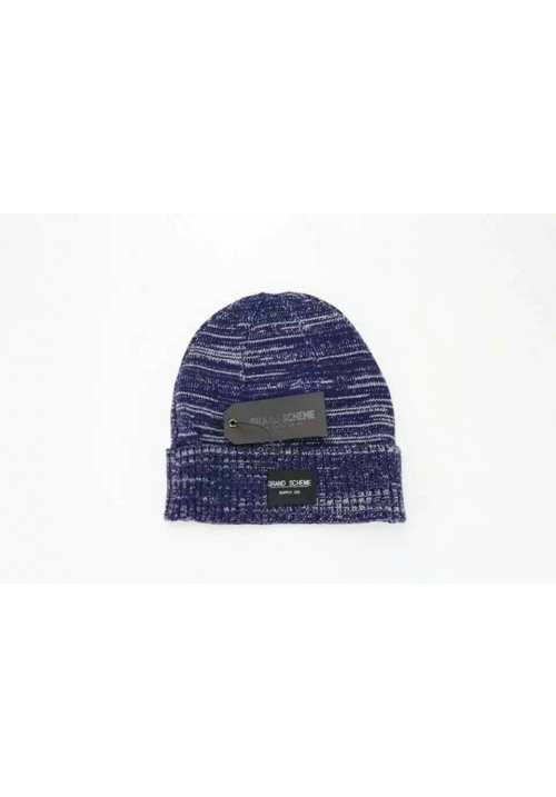 Grand Scheme Knit Graphite Beanie Hat (Blue)