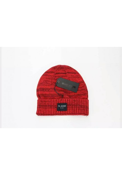 Grand Scheme Knit Graphite Beanie Hat (Red)