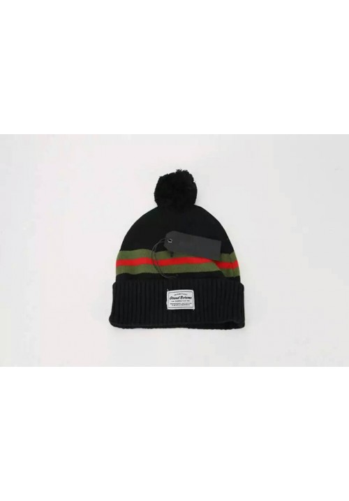Grand Scheme Knit Pom Stripe Beanie Hat (Black)