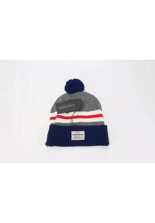 Grand Scheme Knit Pom Stripe Beanie Hat (Gray/Navy)