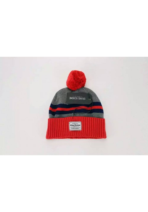 Grand Scheme Knit Pom Stripe Beanie Hat (Gray/Red)