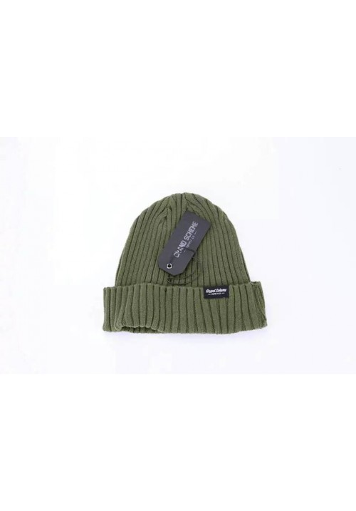 Grand Scheme Knit Solid Beanie Hat (Army/Green)