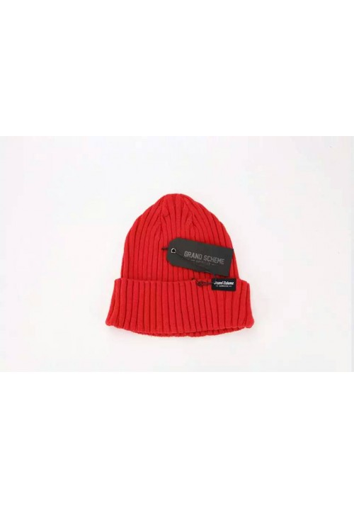 Grand Scheme Knit Solid Beanie Hat (Army/Red)