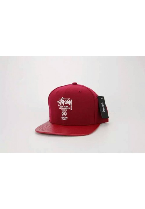 Stussy All Cities Snapback Hat (Red)