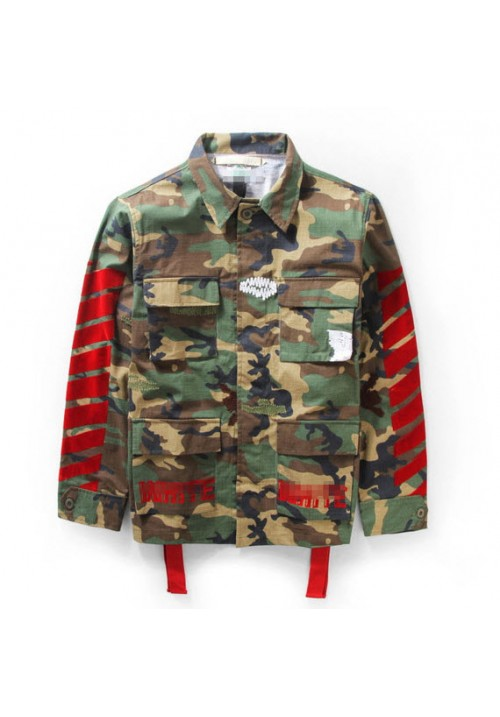 Off White Camo 4 Pocket Utility Jacket (Green)