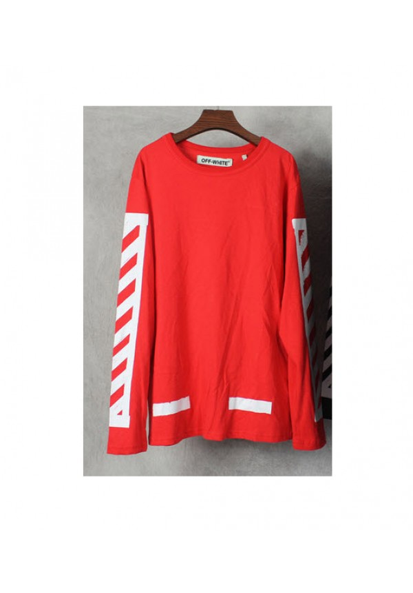 White Side Print Long Sleeve (Red)