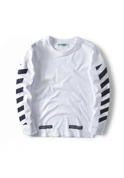 Off White Striped Letters Long Sleeve (White)