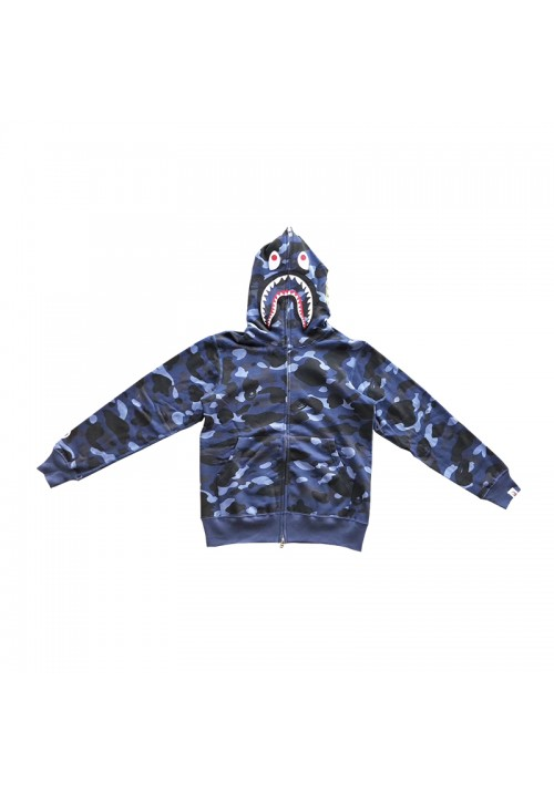 A Bathing Ape Camo Shark WGM Hoodie (Blue)
