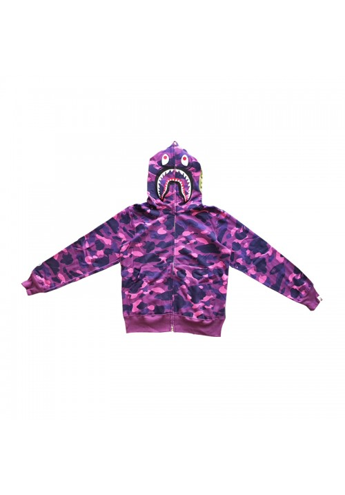 A Bathing Ape Camo Shark WGM Hoodie (Purple)
