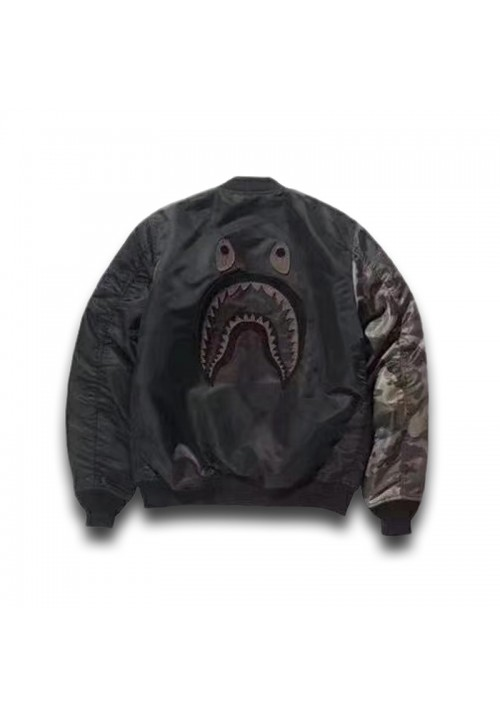 A Bathing Ape BAPE Undefeated Shark Face Bomber Jacket (Black)
