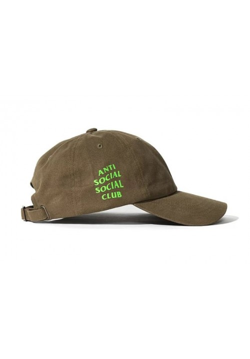 Anti Social Social Club Neon Green Label Strapback Hat (Fatigue/Green)