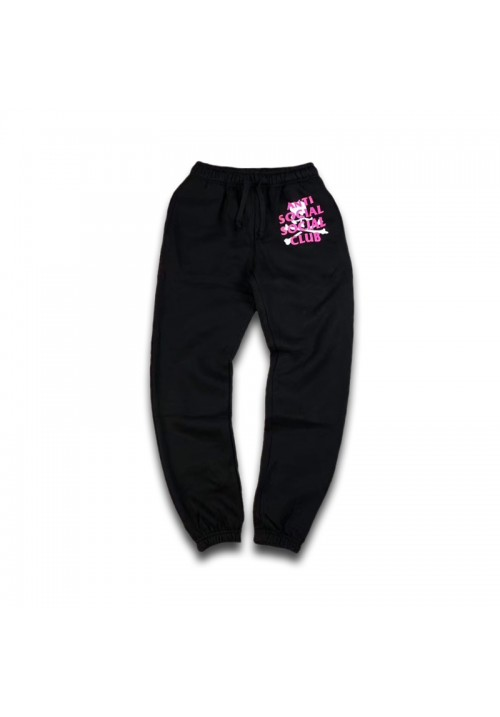 Anti Social Social Club Logo Skull Sweatpants (Black/Pink)