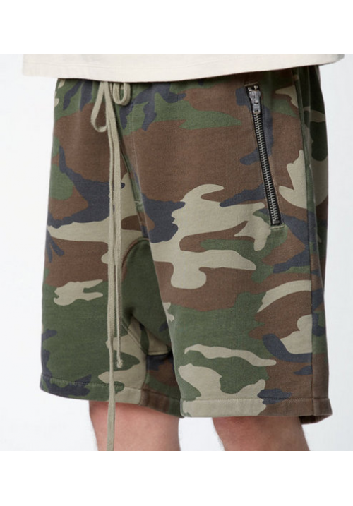 Fear Of God Camo Zipper Shorts (Green)