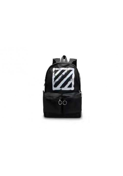 Off White Canvas Brushed Diagonals Backpack (Black)