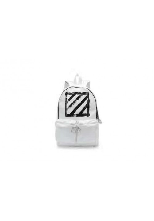 Off White Canvas Brushed Diagonals Backpack (White)