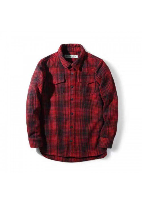 Off White Flannel Button Up Shirt (Red)