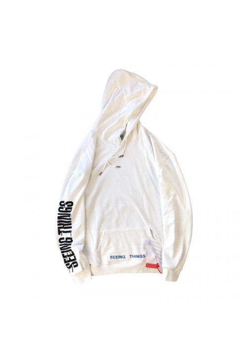 Off White Seeing Things Half Diagonal Hoodie (White)