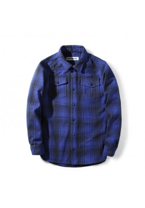 Off White Flannel Button Up Shirt (Blue)