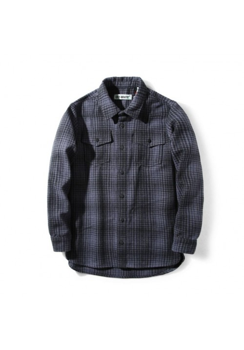 Off White Flannel Button Up Shirt (Gray)