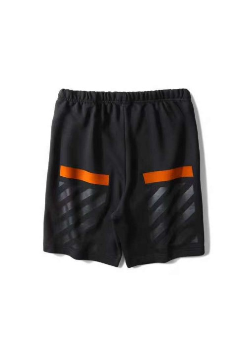 Off White Black Orange Stripes Shorts (Black)