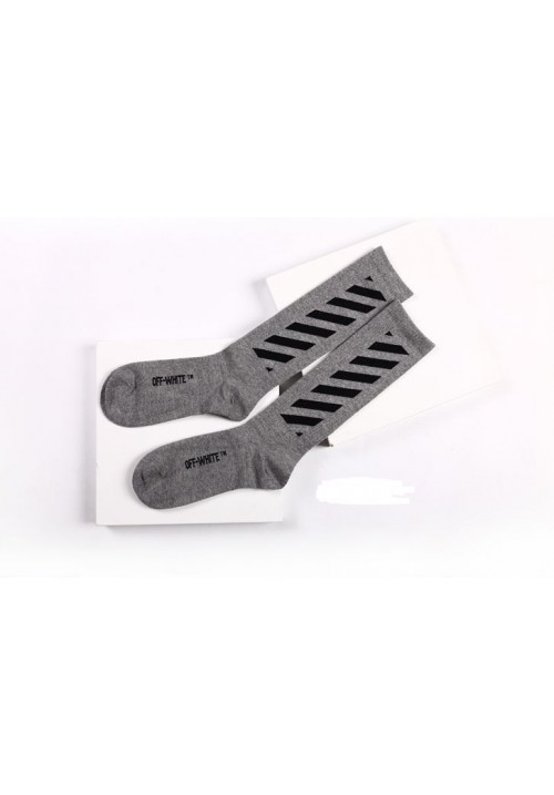 Off White Cut Off Stripes Socks (Gray)