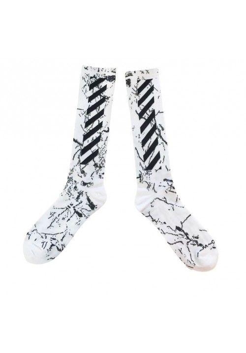 Off White Diagonal Marble Stripe Socks (White)