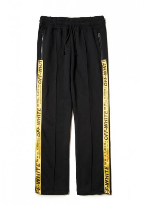 Off White Yellow Belt Trackpants (Black)