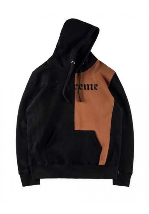 Supreme Old English Label Split Hoodie (Black/Brown)