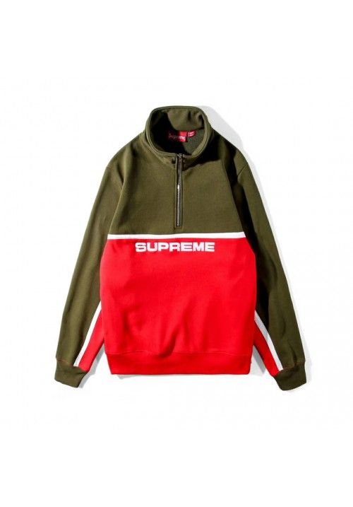 Supreme Half Zip Pull Up Sweater (Red/Green)