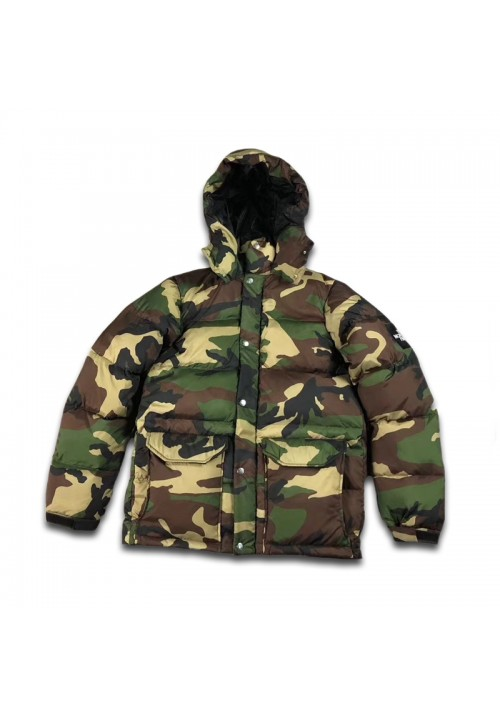 The North Face Hooded Nuptse Camo Jacket (Green)