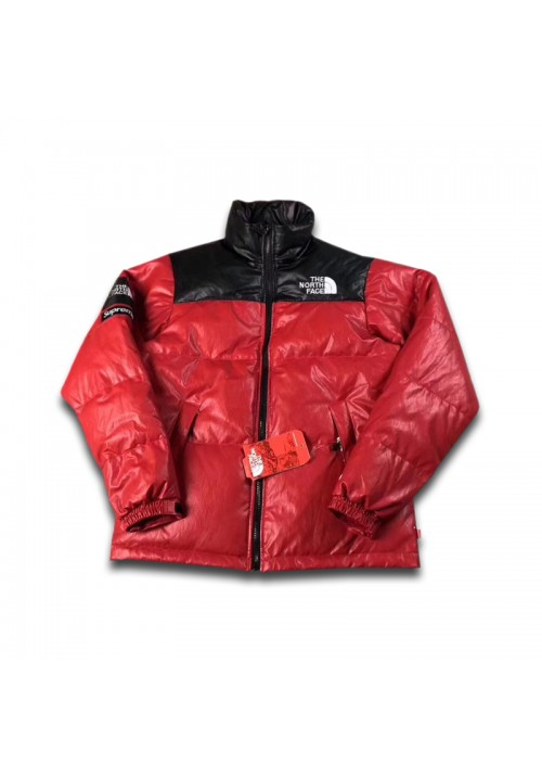 The North Face Supreme Leather Nuptse Jacket (Red)