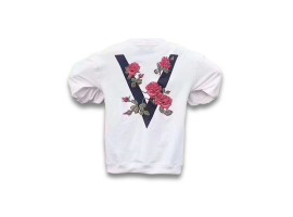 Vovavi Big V Rose Embroidery Sweater (White)