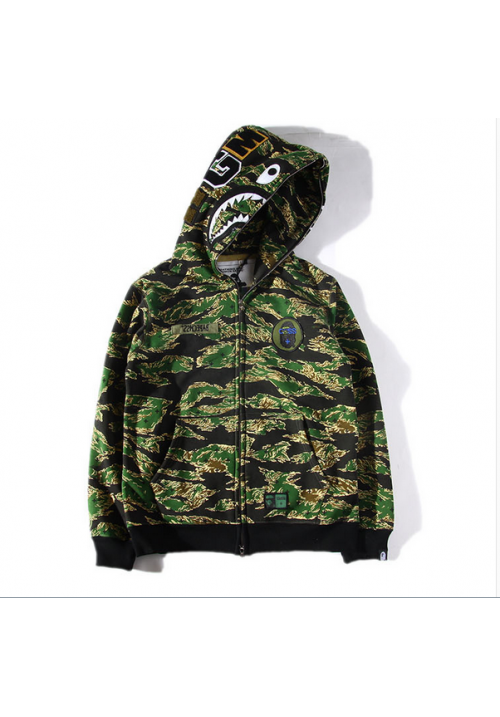 A Bathing Ape Bape WGM Camo Shark Hoodie (Black/Green)