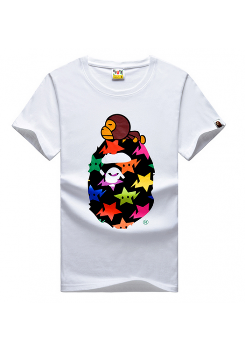 A Bathing Ape Bape Rainbow Stars Milo T-Shirt (White)