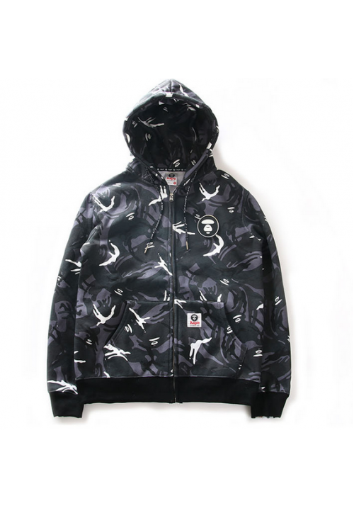 Aape All Over Grayscale Camo Hoodie (Gray/Black)
