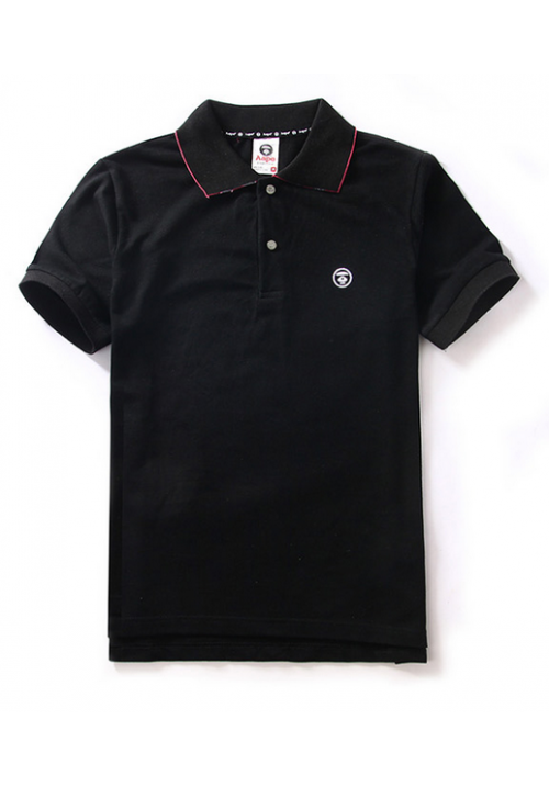 Aape Simple Color Collar Polo Shirt (Black)