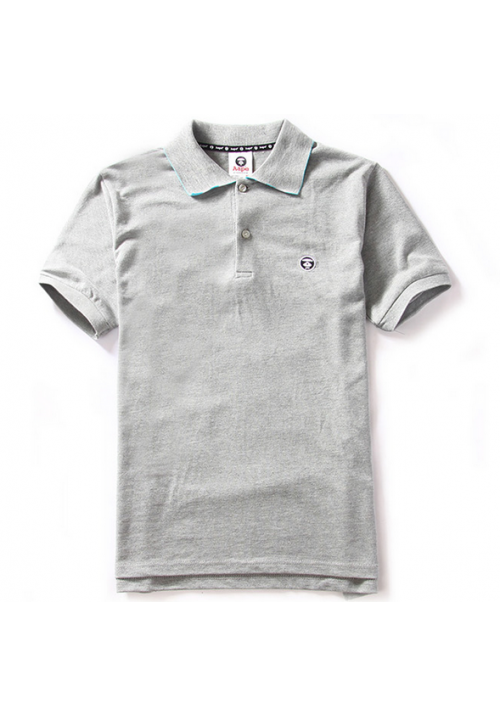 Aape Simple Color Collar Polo Shirt (Gray)