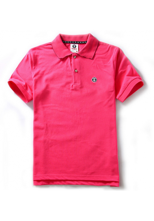 Aape Simple Color Collar Polo Shirt (Pink)