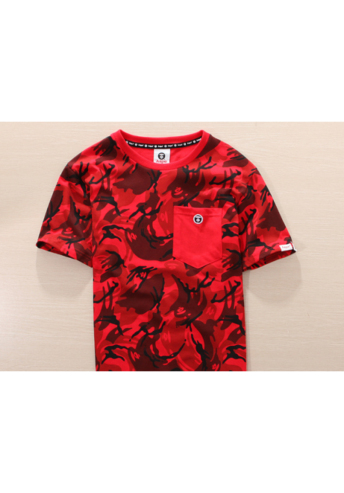 Aape Bape Camo Pocket T Shirt (Red)
