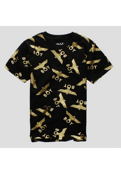 Boy London All Over Gold Eagle Print T-Shirt (Black)