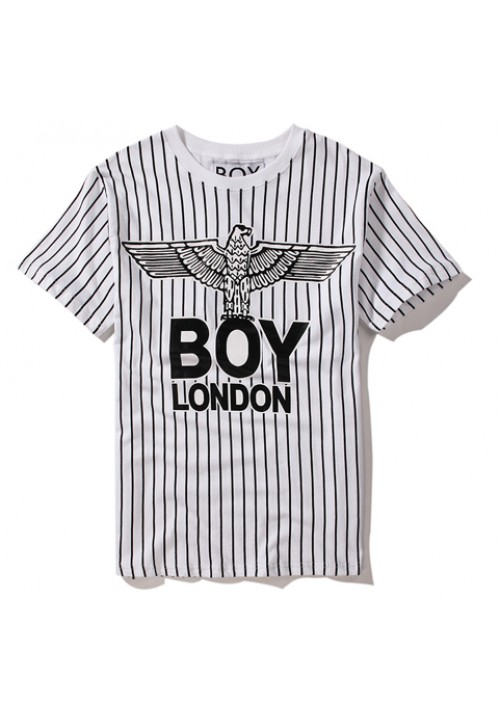 Boy London Crest Eagle Stripe T-Shirt (White)