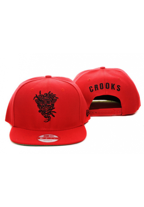 Crooks and Castles Medusa Red Snapback Hat (Red)