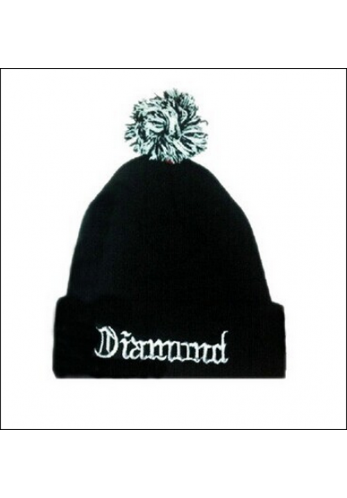Diamond Supply CO Text Logo Beanie Hat (Black/White)