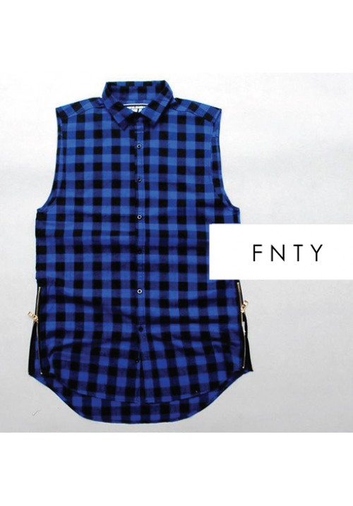 Flying Ninety FNTY CBheckered Zip-up Sleeveless Shirt (blue)