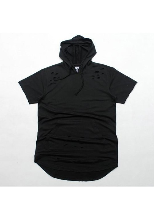 Flying Ninety Hood Shortsleeves Sweater (Black)
