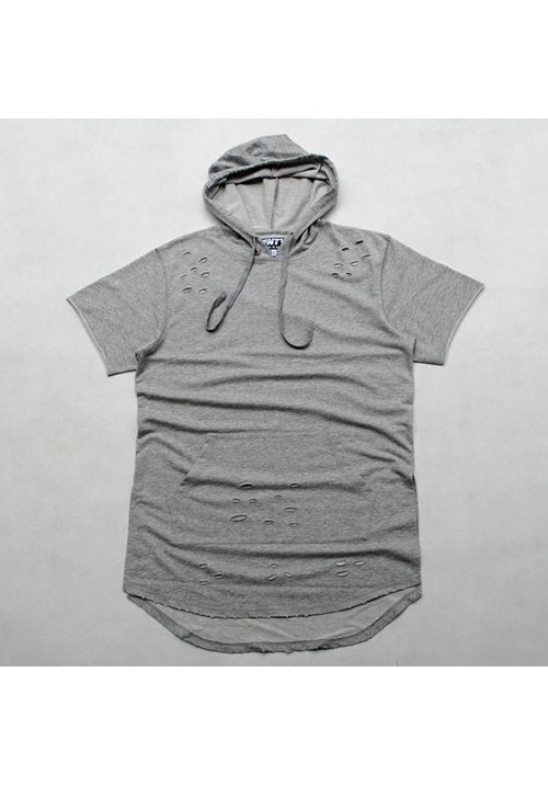 Flying Ninety Hood Shortsleeves Sweater (gray)